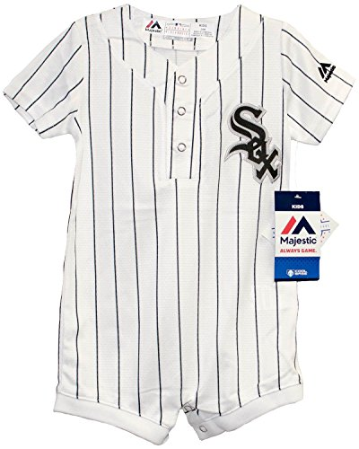 Onesie Sox White Chicago (Majestic Infant/Toddler MLB Chicago White Sox White/Black Romper (18 Months))