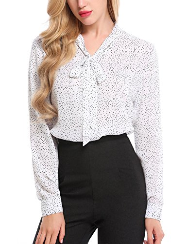 Beyove Women Bow Tie Chiffon Cuffed Sleeve Blouse Polka Dot Button Down Shirt