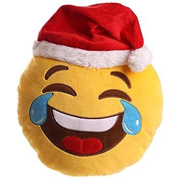 PUCKATOR xcush107 cojín de Peluche Emotive LOL con Gorro de Navidad poliéster Amarillo/Rojo/Blanco/Azul 28 x 27 x 8 cm: Amazon.es: Hogar
