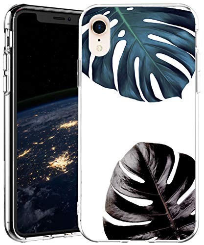 iPhone XR Case,IN4U Hard Back Tropical Leaf Design Raised Edge Shockproof Slim Fit Protective Transparent TPU Bumper Cover for 6.1 Inch iPhone XR Case ()
