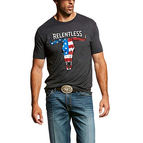 (ARIAT Men's Rls American Flag Skull T-Shirt Charcoal Heather Size Large )