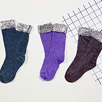Amazon.com: SaveStore Handmade Sequins Glitter Socks for Women Fashion Sexy Short Black Silver Paillette Socks Calcetines Mujer Chaussette: Kitchen & Dining