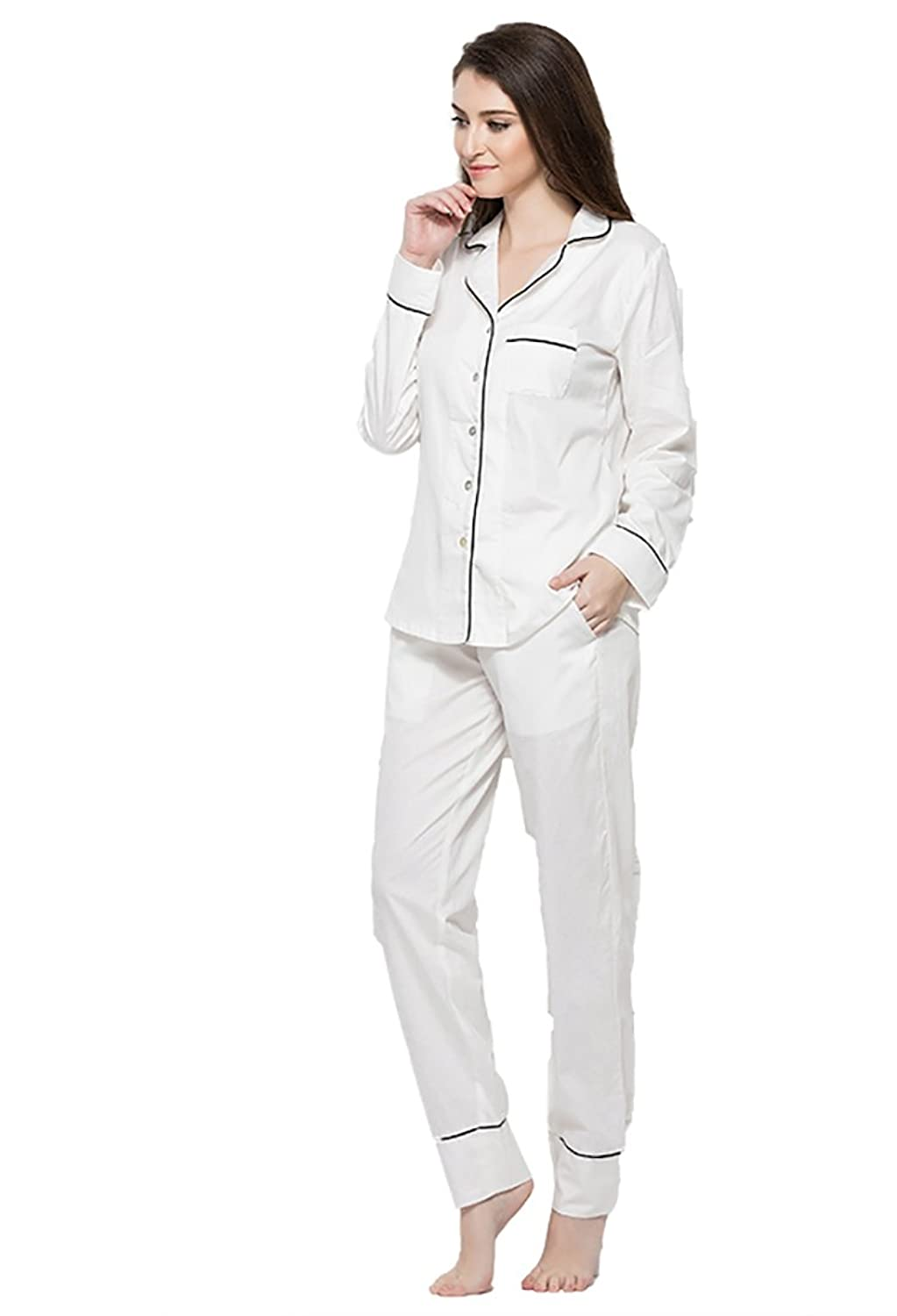 d84da36155 Top3: ROMOCEN Pajamas for Women,Luxury Womens Pajamas,100% Cotton Women's Pajamas  Button Down Pajama Piping Sets Sleepwear