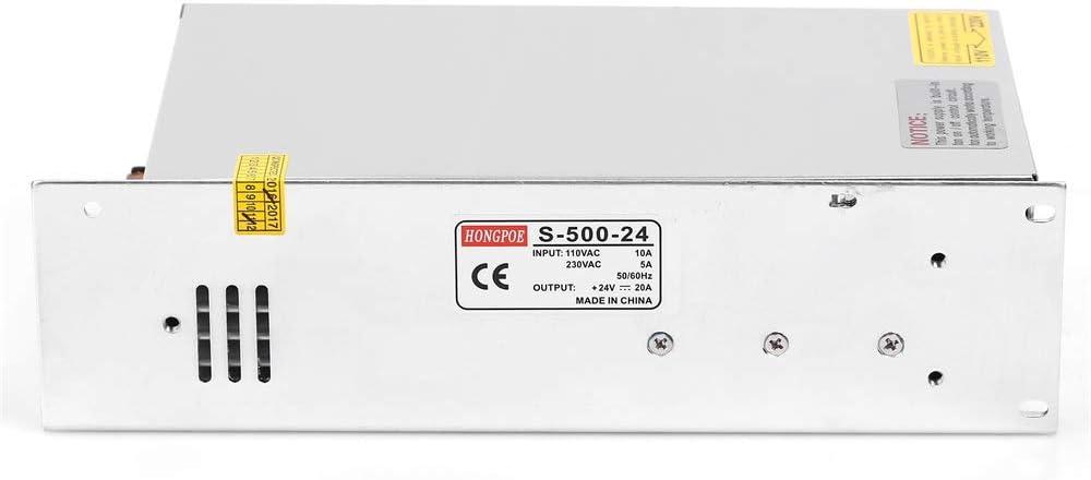 1PCS AC-DC 24V 20A 500W Transformador de Potencia, Transformador de Voltaje, Fuente de alimentación para la Tira de LED S-500-24 Fuente de alimentación de 24VDC