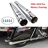 Classic Chrome Megaphone Slip-On Mufflers Exhaust Pipe For 1995-2016 Harley Touring Dresser Bagger, Road King,Electra Glide, Street Glide, Road Glide, Ultra Limited