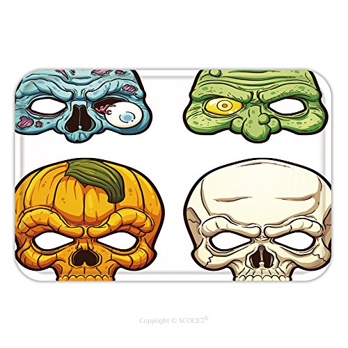 Halloween Clipart Costume (Flannel Microfiber Non-slip Rubber Backing Soft Absorbent Doormat Mat Rug Carpet Halloween Masks Vector Clip Art Illustration With Simple Gradients Each On A Separate Layer 315183266 for Indoor/Outdoo)