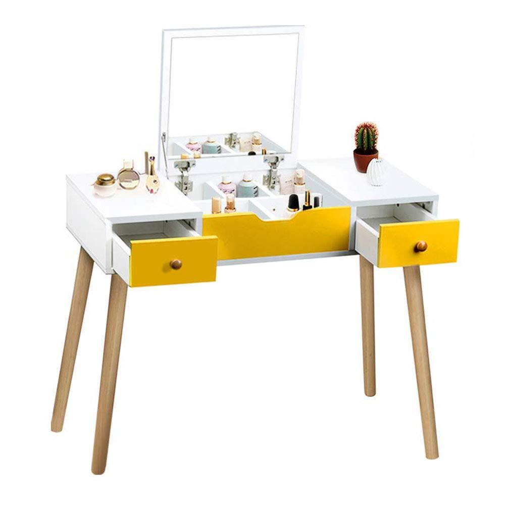 LARRY SHELL Schminktisch, multifunktionale Make-up-Tisch Superior Holz Vanity Set mit Flip Top Spiegel Schreibtisch mit 2 Schubladen 5 herausnehmbare Trennwand für Kinder Mädchen Frauen Schlafzimmer