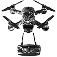 Skin for DJI Spark Mini Drone Combo - Black Flourish| MightySkins Protective, Durable, and Unique Vinyl Decal wrap cover | Easy To Apply, Remove, and Change Styles | Made in the USA