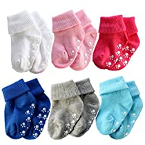 Sept.Filles 6 Packs Newborn Toddler Baby Cotton Warm Non Slip Ankle Socks from (2-5 Years, B-Anti Slip Style)