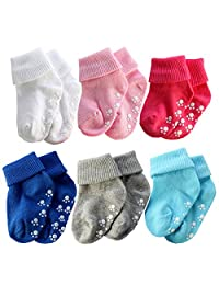 Sept.Filles 6 Packs Newborn Toddler Baby Cotton Warm Non Slip Ankle Socks