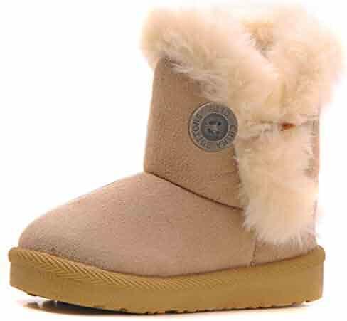 Femizee Girls Boys Warm Winter Flat Shoes Bailey Button Snow Boots(Toddler/Little Kid)