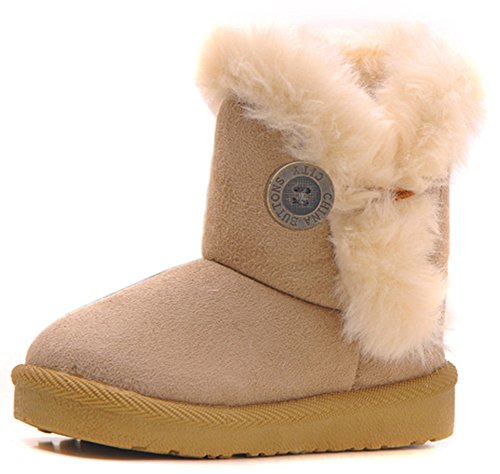Best Selling Femizee Girls Boys Warm Winter Flat Shoes Bailey Button Snow Boots(Toddler/Little Kid),Beige,6 M US Toddler