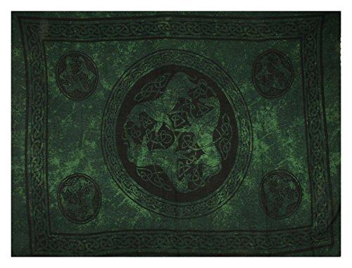 Celtic Sarong - Green Horses, Fringed