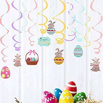 30PCS Easter Hanging Swirl Decorations Easter Egg Bunny Hanging Swirl Foil Ceiling Decorations Easter Decorations for Home Office School Easter Party Ornaments Favors Supplies