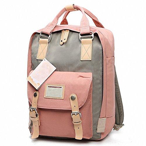 Women's Canvas Travel Bag Student Drawstring Bucket Backpack (Blue) - 9