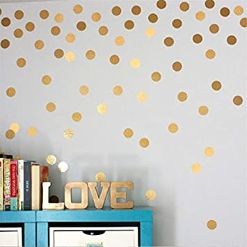 Amazoncom Yanqiao Gold Wall Decal Dots Easy Peel Stick And - How to make vinyl wall decals stick