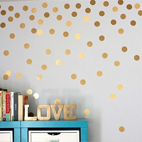 Yanqiao Gold Wall Decal Dots Easy Peel & Stick And Safe on Walls Paint Removable Vinyl Polka Dot Decor Round Circle Art Glitter Sayings Sticker Large Paper Sheet Set for Nursery (Outside Decorating Ideas)