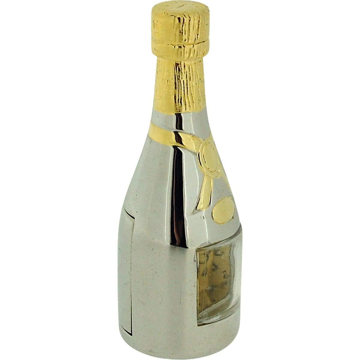 GTP Miniature Chrome /& Goldtone Champagne Bottle Novelty Collectors Clock IMP1031
