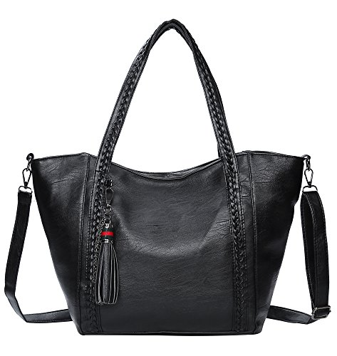 Women's Large Tote Bag from Covelin, Retro Leather Knitted Shoulder Handbag Black
