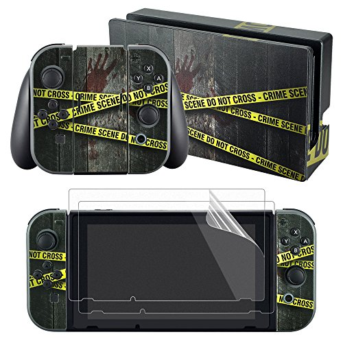 eXtremeRate Crime Scene Decals Stickers Full Set Faceplate Skin +2Pcs Screen Protector for Nintendo Switch Console & Joy-con Controller & Dock Protection - Faceplate Console