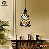 Makenier On-sale Tiffany Style Stained Glass Beaded Vintage Small Pendant Lamp - 7 Inches Lampshade