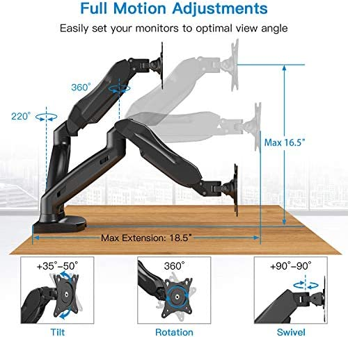 Huanuo Dual Monitor Stand - Adjustable Spring Monitor Desk Mount Swivel Vesa Bracket with C Clamp, Grommet Mounting Base for 17 to 27 Inch Computer Screens - Each Arm Holds 4.4 to fourteen.3lbs