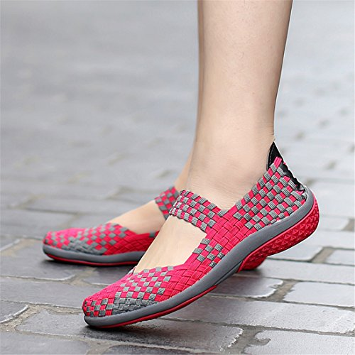 Woven Rosy Loafers Breathable Shoes Mesh Sneakers Walking Fashion SEVENWELL Slip Women's Stretch on 7Bq7T5f