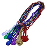 Metallic Mardi Gras Beads Necklace With Guitar Charms - 12 Large Bead Necklaces