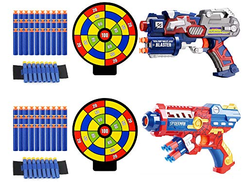 Fstop Labs 2 Pack Blaster Foam Gun Toy, Compatible with Nerf Guns, Hand Toy Guns with 2 Wrist Band, 60 Pieces Refill Soft Foam Bullet Darts and 2 Targets for Kids -