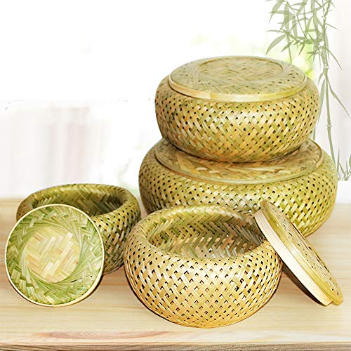 JHTC Natural Bamboo Wicker Baskets (Not Plastic Basket) × 1 Set, Hamper Baskets for Tabletop or Counter Display, for Child Pick, Fruits, Hotel Woven Storage Basket Gift (Without Cover)-3 Sizes