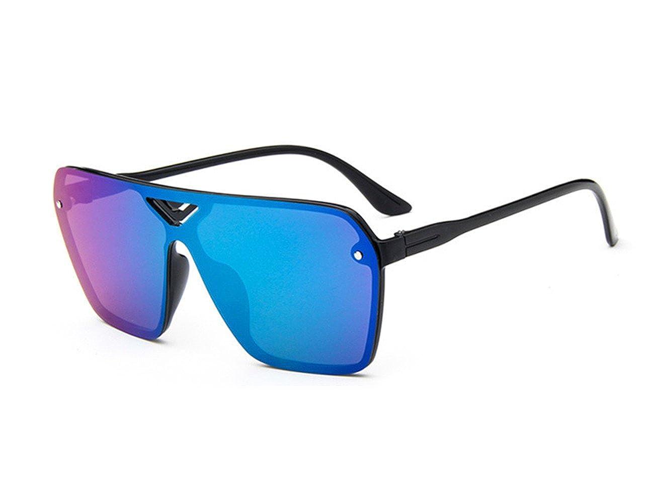 ViviClo Unisex Oversize Square Retro Modern Infinity Mirrored Flat Lens Shield Sunglasses