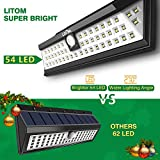 LITOM Solar Lights Outdoor, 54 LED Super Bright 270°Wide Angle Motion Sensor Lights, Wireless Waterproof Security Solar Light for Front Door, Yard, Garage, Deck, Porch, Shed, W