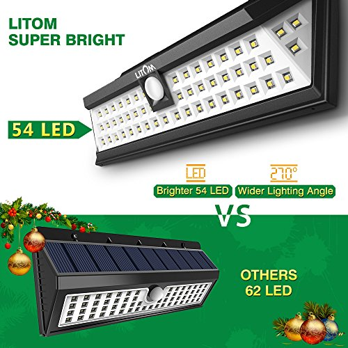 LITOM Solar Lights Outdoor, 54 LED Super Bright 270°Wide Angle Motion Sensor Lights, Wireless Waterproof Security Solar Light for Front Door, Yard, Garage, Deck, Porch, Shed, Walkway, Fence (2 Pack) by Litom (Image #1)