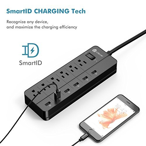 [Over-Load Switch Control] iClever IC-BS03 Smart Power Strip | USB Desktop Charger, 6 AC Outlets + 6 USB Port, 4320 Joules Surge Protector 5ft Extension Cord, Black by iClever (Image #4)