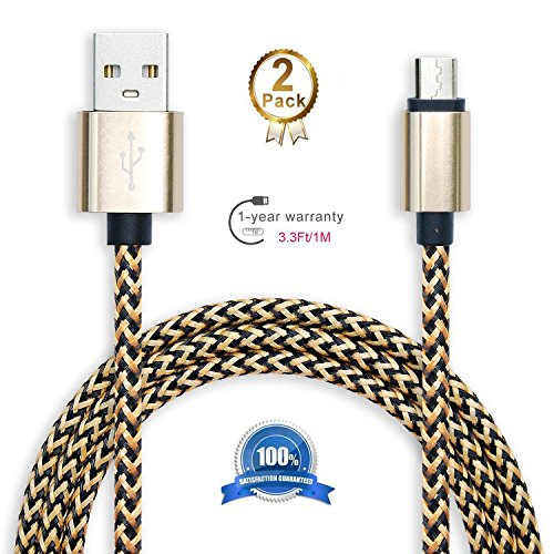 2 Pack: 3ft (1m) Micro- USB to 2.0 Male USB High Speed Cable Data Sync for Android - Premium Phone Charging Cable for Samsung, HTC, Sony, Motorola, LG, Blackberry, Nokia Gold