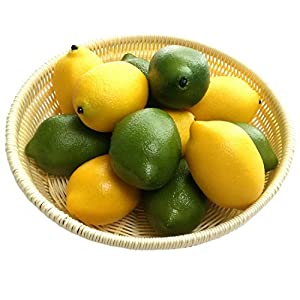Gresorth 12pcs yellow green artificial for Artificial fruits for decoration