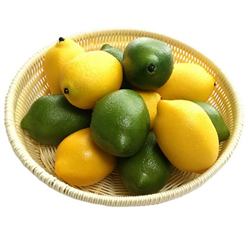 Gresorth 12pcs Yellow & Green Artificial Lifelike Simulation Lemon Fake Fruit Home Kitchen Cabinet Decoration by Gresorth