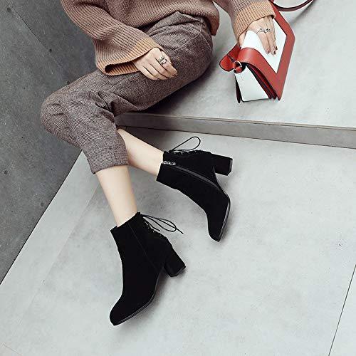 con Botas Moda de black Invierno de tacón Mujer de Alto e otoño IFXqfpX6