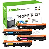 Aztech Compatible for Brother TN221 TN225 MFC-9130CW MFC 9130CW MFC 9330CDW Toner Cartridge for Brother MFC 9130CW HL-3170CDW HL3170CDW MFC-9330CDW MFC-9340CDW MFC 9340CDW HL-3140CW Printer (4PK-KCMY)