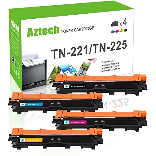 Aztech Compatible for Brother TN221 TN225 MFC-9130CW MFC 9130CW MFC 9330CDW Toner Cartridge for Brother MFC 9130CW HL-3170CDW HL3170CDW MFC-9330CDW MFC-9340CDW MFC 9340CDW HL-3140CW Printer-4 Packs