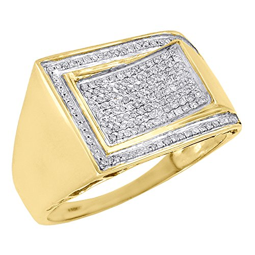10K Yellow Gold Diamond Pave Mens Concave Pinky Ring Round Cut 0.32 Cttw (Concave Diamond Cut Ring)
