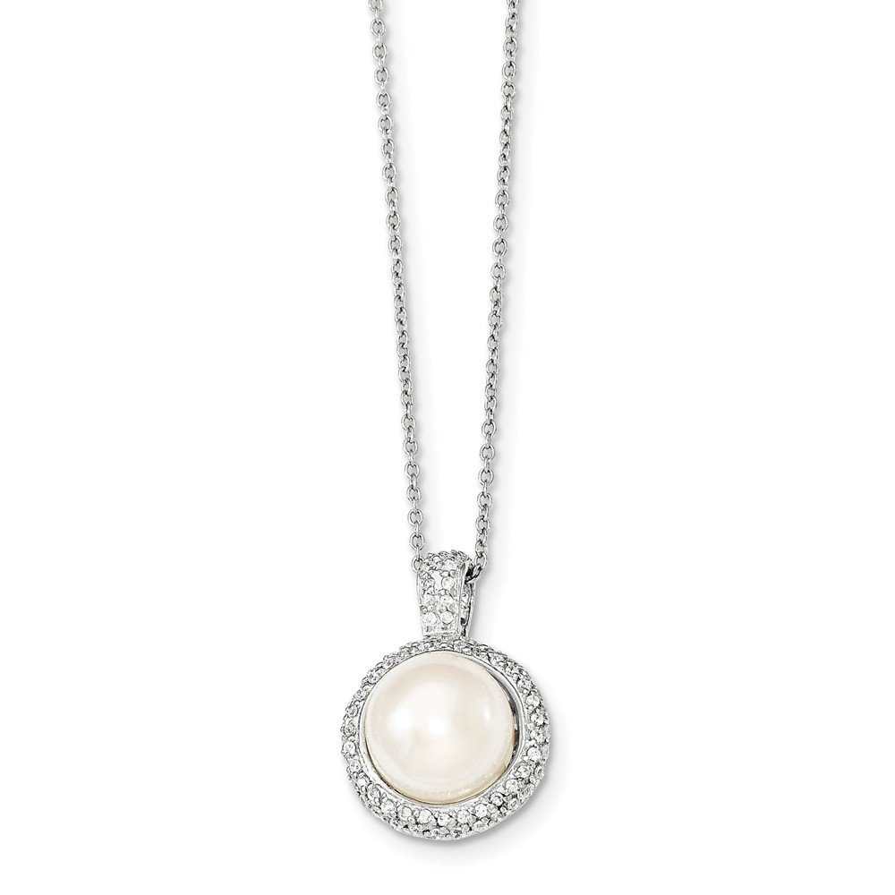 Jewelry Best Seller Sterling Silver Rhodium-plated 11-12mm White FWC Pearl CZ Necklace