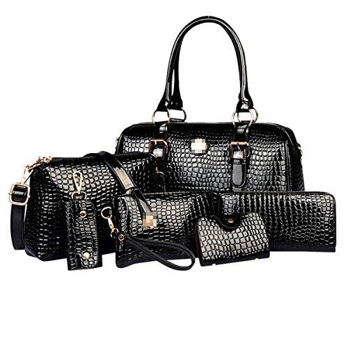 Lady Fashion Crocodile 6 Piezas Conjuntos Pu Bolso De Cuero Satchel Monedero Crossbody Bolsas Para Mujeres Multicolor Black