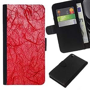 KLONGSHOP // Tirón de la caja Cartera de cuero con ranuras para tarjetas - Biología doctor Goth Red - HTC DESIRE 816 //