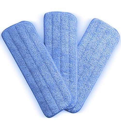 Washable Microfiber Mop Head (3 Pack) – Microfiber Replacement Mop Pads 16 x 5.5 Inches for Cleaning of Wet or Dry Floors – Professional Home/Office Cleaning Supplies, Blue