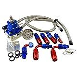 Universal Adjustable EFI Aluminum Fuel Pressure Regulator Kit w/ 60 - 160 Psi Gauge An6 -6an Fuel Line Hose Fittings Blue