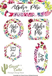 Alpha Phi Sorority Water Color Flowers Floral Sticker Decal Laptop Water Bottle Car A Phi (Full Sheet)