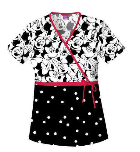 Disney Cherokee Women's Mock Wrap Top Big Minnie, Black, Small