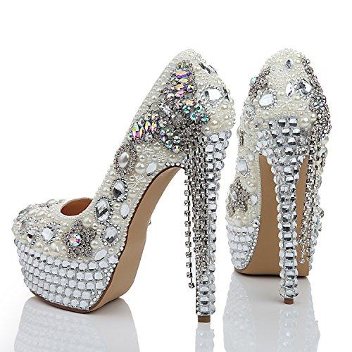 Similicuir L Talon Hauts 14cm Été Chaussures white Strass Mousseux à Printemps Talons pour YC Femmes Fête gqzgwfT