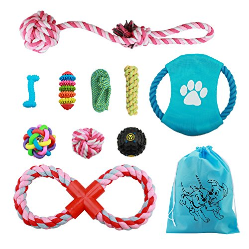 (Dog Rope Toys for Small Medium Dogs - Set of 10 Quality Safe Cotton Chew Dog Toys )